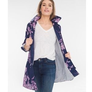 Chico's Navy Floral Rain Jacket